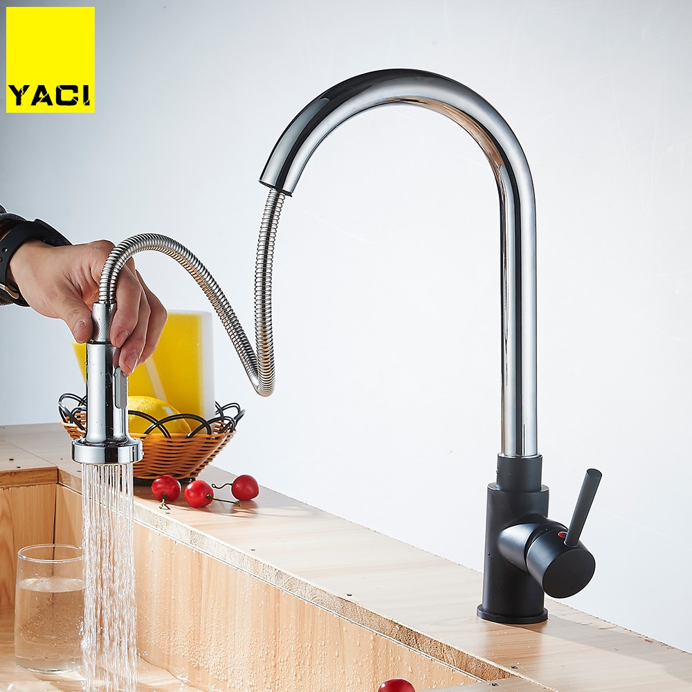 YACI Kitchen Faucet 360 Degree Swivel Pull Out Chrome Solid Brass Mixer Tap Hot and Cold Water Two Functions Torneira YC8035 everso solid brass kitchen faucet double spouts 360 degree
