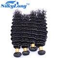 Натуральный Цвет Бразильского Глубокая Волна SilkyLong Дешево Бразильские Волосы 4 Пучки 100% Человеческих Волос Weave 7А Норки Бразильский Волос 100 г/шт.
