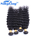 Natural Color Brazilian Deep Wave SilkyLong Cheap Brazilian Hair 4 Bundles 100% Human Hair Weave 7A Mink Brazilian Hair 100g/Pcs