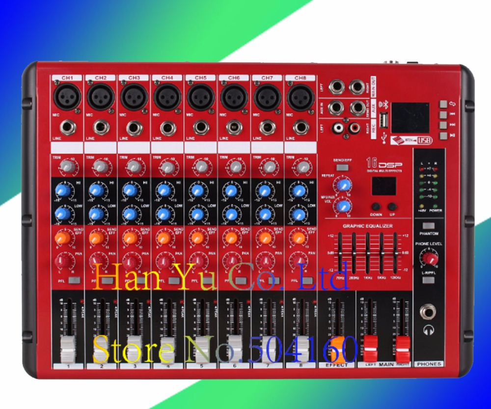 USB 8 Channel Professional Live Studio Audio Mixer New Mixing Console 3-Band Equalizer Built-in Effects With Bluetooth 48V professional 4 channel live mixing studio audio sound console network anchor portable mixing device vocal effect processor