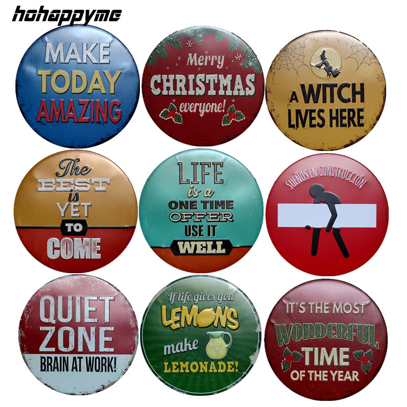 Merry Christmas Decorative Metal Plate For Wall Living Room