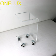 Waterfall Rolling Acrylic C Shaped Book Table,Lucite Bedside Magazine Tea Tables On Wheels(China)