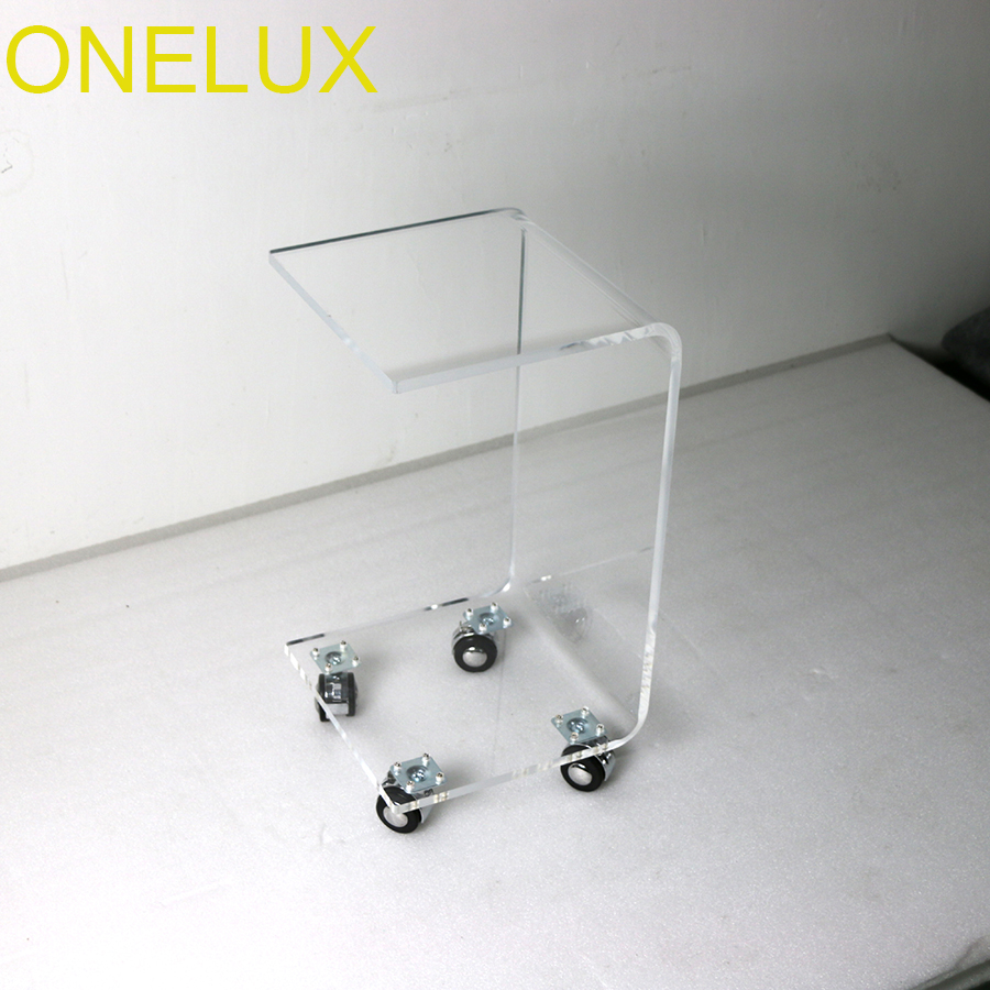 Waterfall Rolling Acrylic C Shaped Book Table,Lucite Bedside Magazine Tea Tables On Wheels все цены