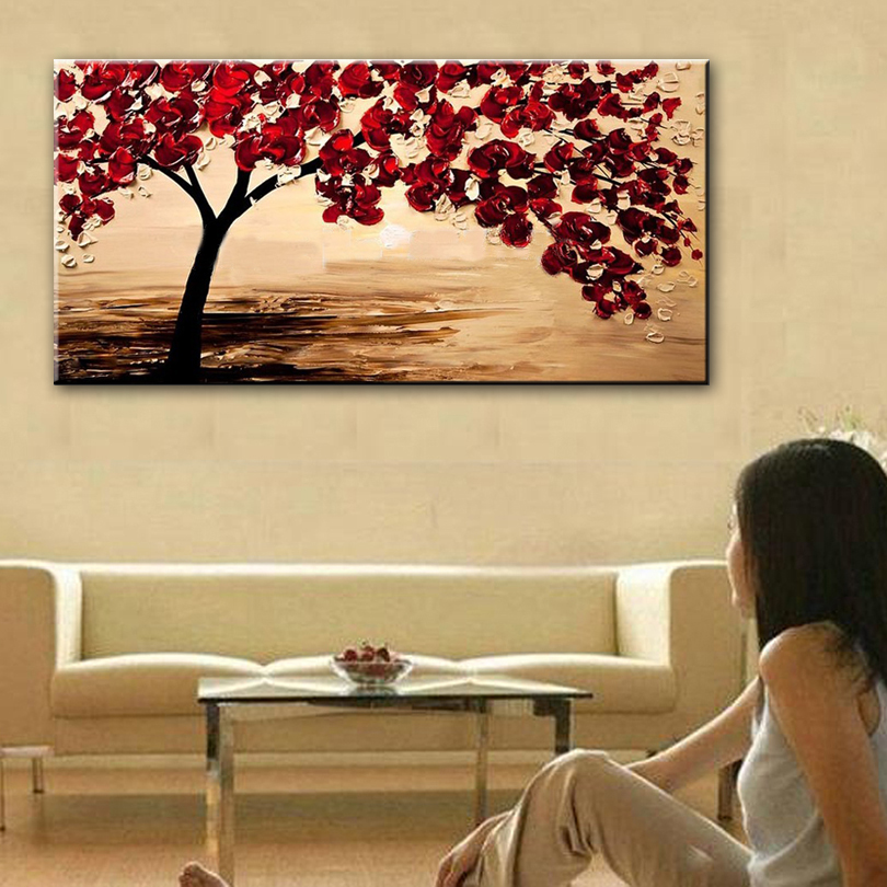 New handmade Modern Canvas on Oil Painting Palette knife Tree 3D Flowers Paintings Home living room Decor Wall Art  168029