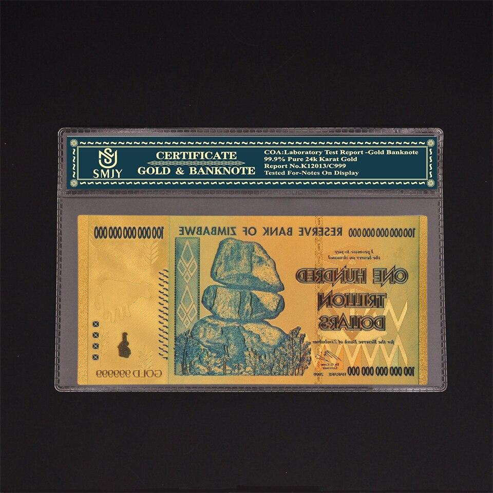 זימבבואה מטבע נייר 100 טריליון דולרים זהב שטרות עותק מקורי כסף אוסף ומתנה עסקית