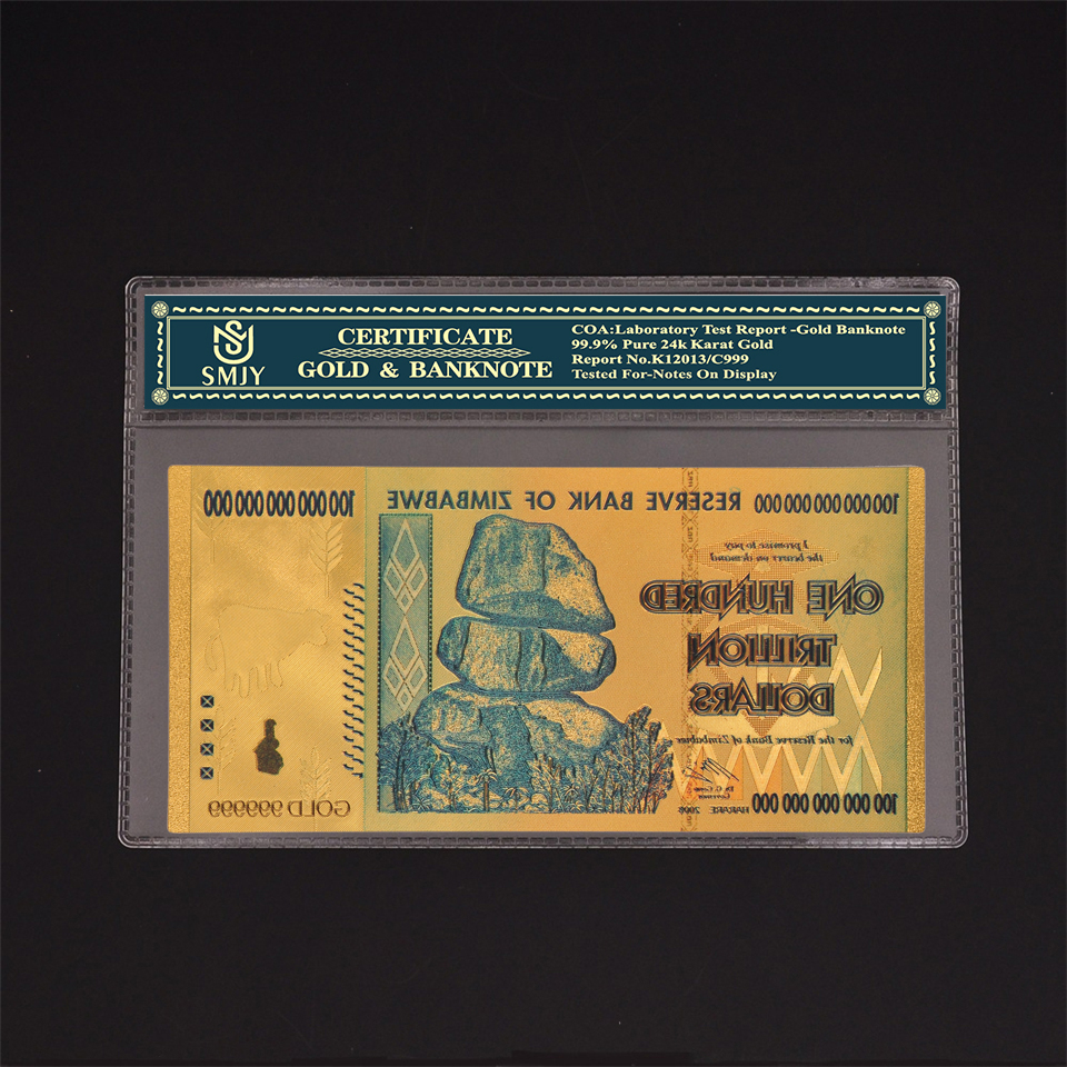 Us 1 76 16 Off Zimbabwe Currency Paper 100 Trillion Dollars Gold Banknotes Copy Original Money Collection And Business Gift In From
