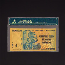 Papel de moneda de Zimbabue, billetes dorados de 100 trillones de dólares, copia de dinero Original, regalo de negocios