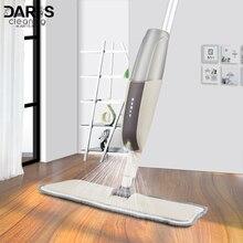 Spray Mop con reutilizables almohadillas de microfibra 360 grados de Metal mango de la fregona para el hogar cocina laminado de madera baldosas de cerámica piso limpieza