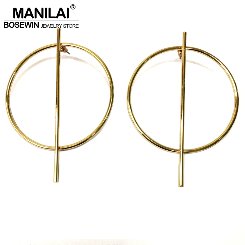 MANILAI Circle Alloy Strip Big font b Earrings b font For font b Women b font