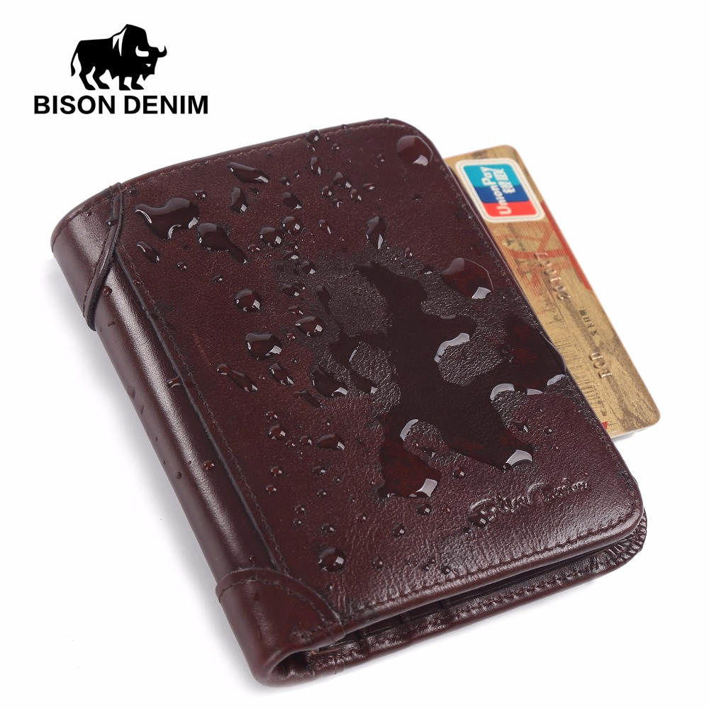 BISON DENIM Genuine Leather RFID wallet Men red brown vintage purse card holder Brand men wallets dollar price Male Purse W4361 baellerry small mens wallets vintage dull polish short dollar price male cards purse mini leather men wallet carteira masculina