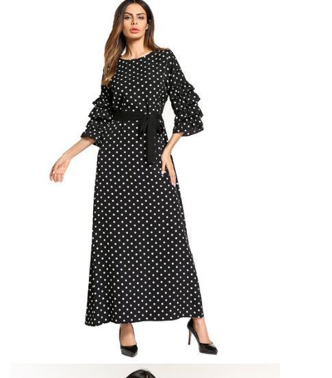 1 Stks/partij Fashion Dames Maxi Lange Jurk Zwart Wit Dot Ruches Mouwen Ontwerp Moslim Jurken Vrouwelijke Dot Moslim Jurk