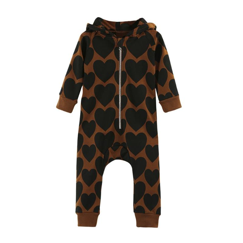 Hot selling Toddler Baby Boys Girls Zipper Print Hooded Long Sleeve Romper Jumpsuit Outfit Kids baby Clothes roupa infantil #JD