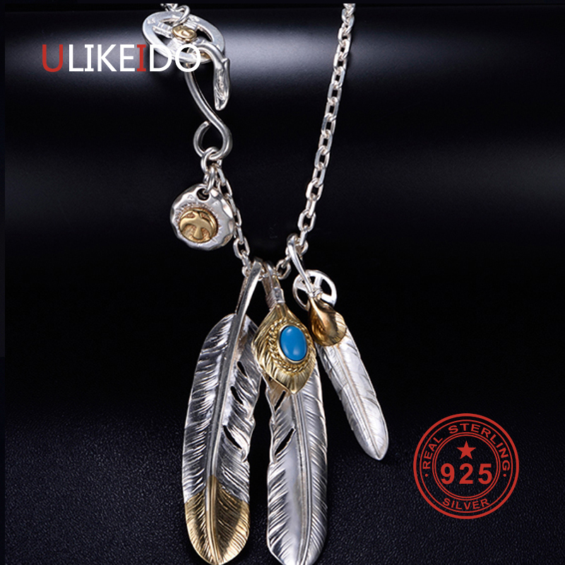 Classic Personality Hawk Paw Men Necklace Takahashi GoroS Eagle Paw Charms Feather Pendant Vintage Hip Hop Jewelry Gift,Silver
