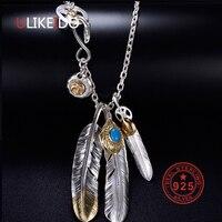Чистое Серебро 925 пробы ювелирные изделия Модные Подвески ожерелье Takahashi Goros кулон Орел цепь с перьями новый популярный подарок P1022