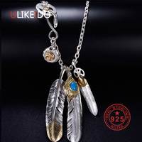 Solid 925 Sterling Silver Necklace For Men Vintage Charms Takahashi Goros Pendant Eagle Feather Chain New Popular Jewelry P1022