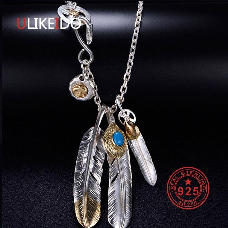 Solid 925 Sterling Zilveren Ketting Voor Mannen Vintage Charms Takahashi Goros Hanger Eagle Feather Ketting Nieuwe Populaire Sieraden P1022-in Kettingen van Sieraden & accessoires op  Groep 1