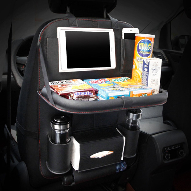 Sitaile Leather Car Seat Back Foldable Dining Table Touch Screen Tablet Holder Bottle Multi Pocket Travel Storage Bag