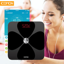 New Original Smart Body Fat Scale Electronic Bathroom Weight Scale Floor Digital Weighting bmi Scale ITO Coating Process 20 Data cheap icomon Toughened Glass Body Fat and Water Content Testing Four-point Type PATTERN Household Scales Square ICOMON i90 180kg