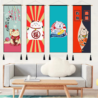 Japanese tyle Fortune Cat Living Room Sofa Background Wall Scroll Painting Decoration Picture