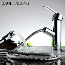 BAOLINLONG New Styling Brass Deck Mount Basin Bathroom Faucet Tap Vanity Vessel Sinks Mixer Pull Out