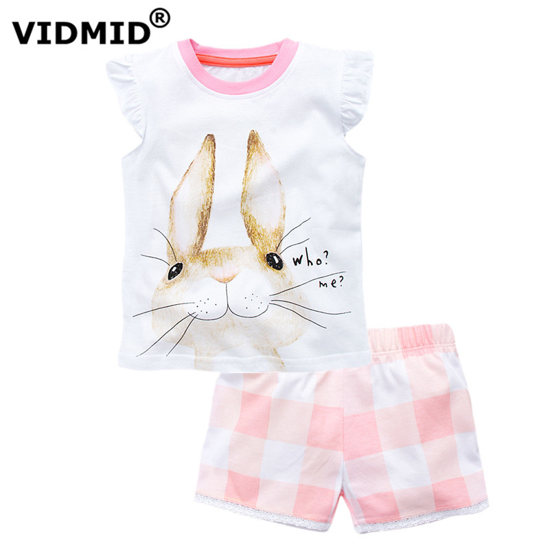 где купить  VIDMID Summer Girls Casual Clothes Set Children Short Sleeve Cartoon T-shirt + Shorts Sport Suits Girls Clothing Sets for Kids  дешево