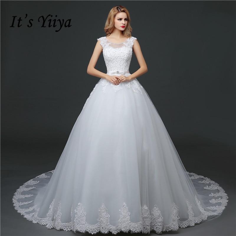 O Neck Lace Bow Trailing Wedding Dresses 2017 Custom Made Classic Train White Bride Gowns Vestidos De Novia MHS621