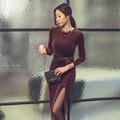 Otoño Las Mujeres de Oficina Oficina Bodycon Vestido de Partido Atractivo de La Vendimia de Terciopelo Negro Púrpura Tamaño Más Vestidos de moda Delgado del vendaje Vestidos