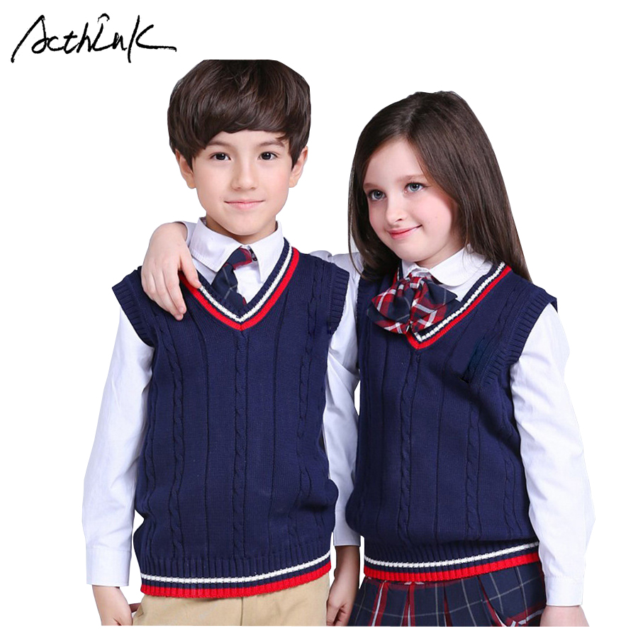 ActhInK New Girls Vest Sweater Brand School Kids V-Neck Woolen Vest Sweater for Boys Children Fall/Winter Knitted Sweater, C321 high neck button embellished knitted sweater