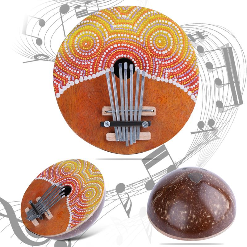 Quality Kalimba Thumb Piano 7 Keys Tunable Coconut Shell Painted Musical Instrument Guitar Parts & Accessories Drop shipping freight free drums and guitar general rhythm marker piano electronic metronome general instrument rhythm auxiliary parts