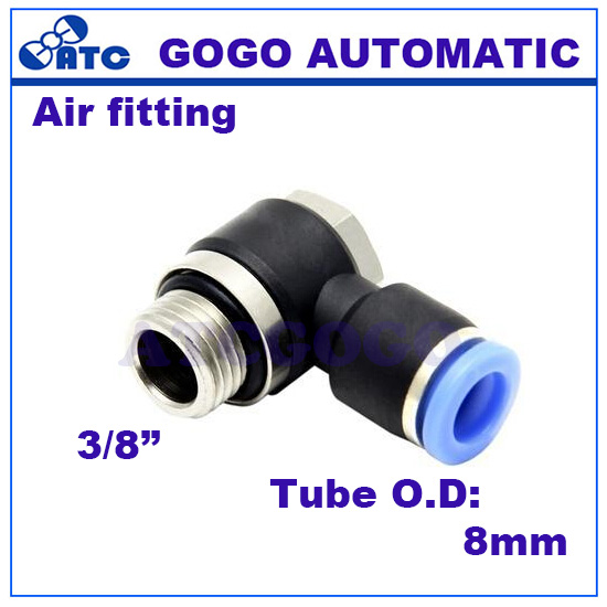 GOGO 10pcs a lot T type 8mm 38 inch pneumatic fitting Hex connector, PH08-G03 push-pneumatic quick connector