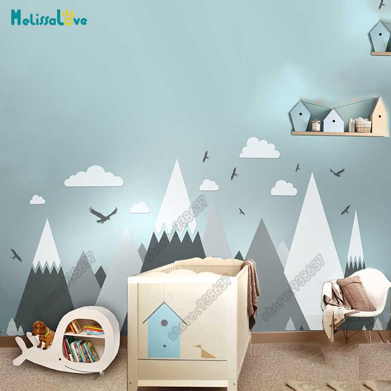 גדול תינוק חדר מדבקות הרפתקאות נושא דקור ענק הרי ענן ציפור משתלת קיד חדר נשלף ויניל וול מדבקת JW373