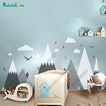 Большой Детская комната Наклейка Приключения тематический Декор огромный Mountain облако птица Детская комната Съемный стены Стикеры JW373