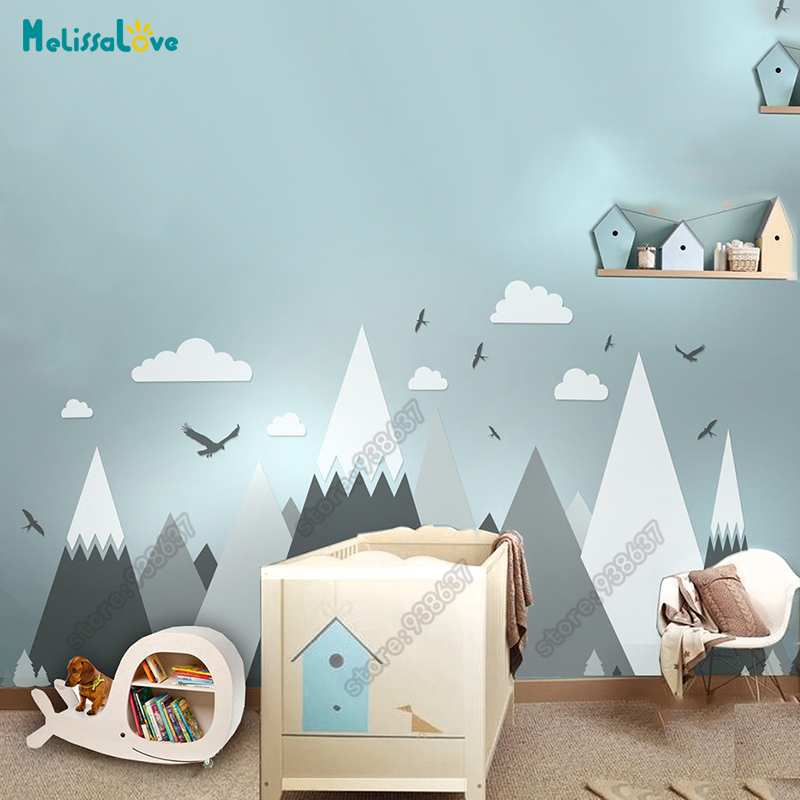 Grande quarto do bebê decalque aventura tema decoração enorme montanha nuvem pássaro berçário quarto miúdo removível vinil adesivo de parede jw373