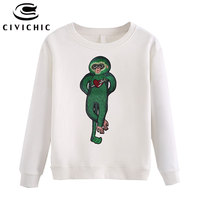 CIVICHIC Stylish Woman Embroidery T shirt Love Monkey Stitch Pullover Solid O Neck Cotton Tees Loose Velvet Warm Tops Wear WLT06