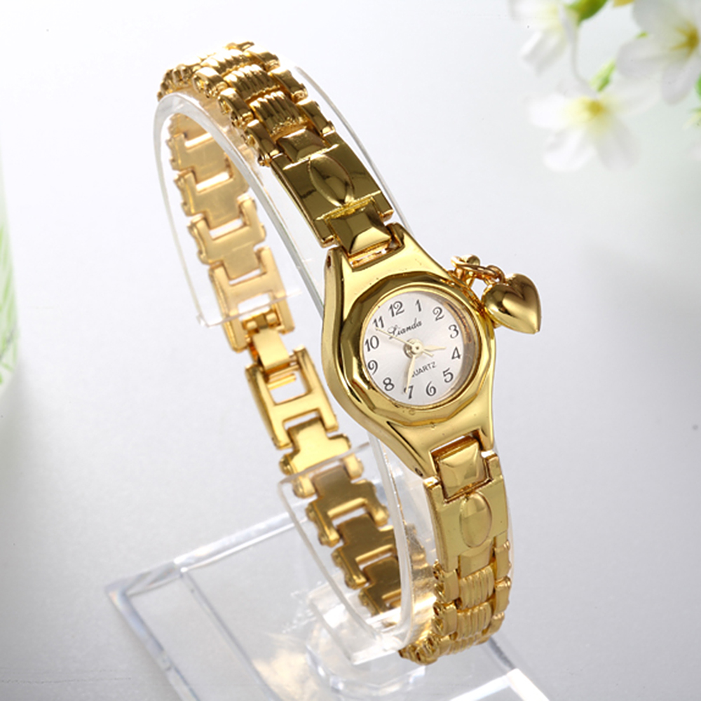 Women Lady's Luxury Royal Gold Dial Honey Heart Pendant Stainless Steel Bracelet Watch Time Quartz
