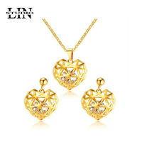 LIN STUDIO Hollow Love Heart Necklace Earring With Shiny CZ Stone Gold Stainless Steel bridal Jewelry Sets For Women S-211
