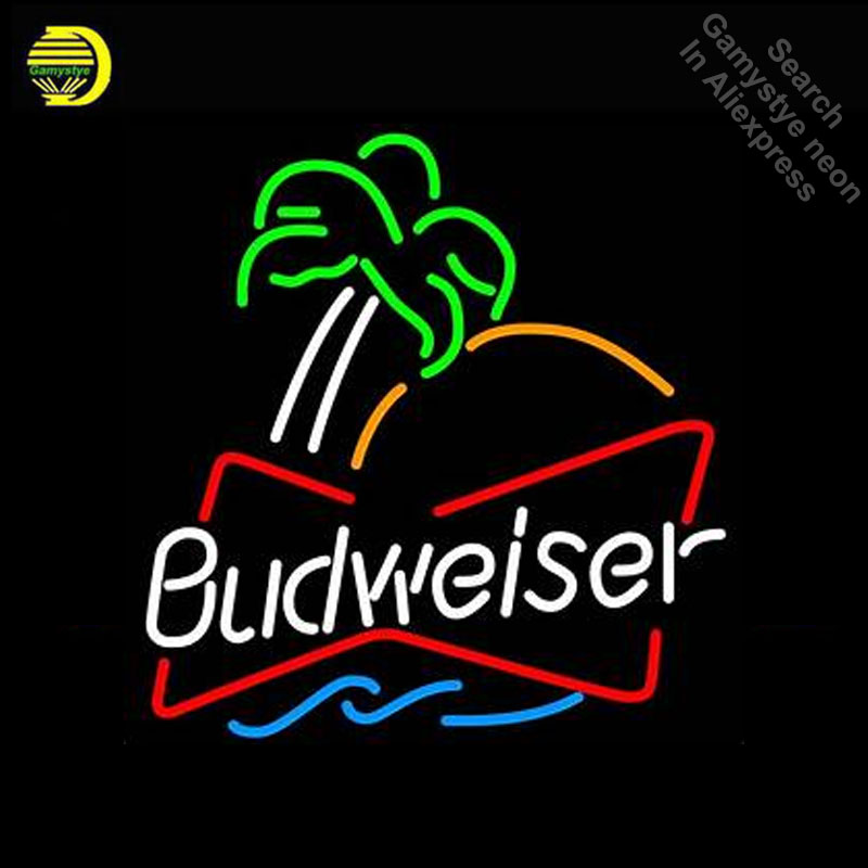 Budweise with palm tree Neon Light Sign GLASS Tube Handcraft Beer Pub Sign Light Signs personalized Lamps neon light wall