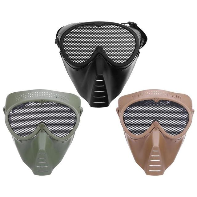 Airsoft Mask Half Face Metal Steel Net Mesh Mask Hunting Tactical Outdoor Protective CS Halloween Party Half Cycling Face Mask