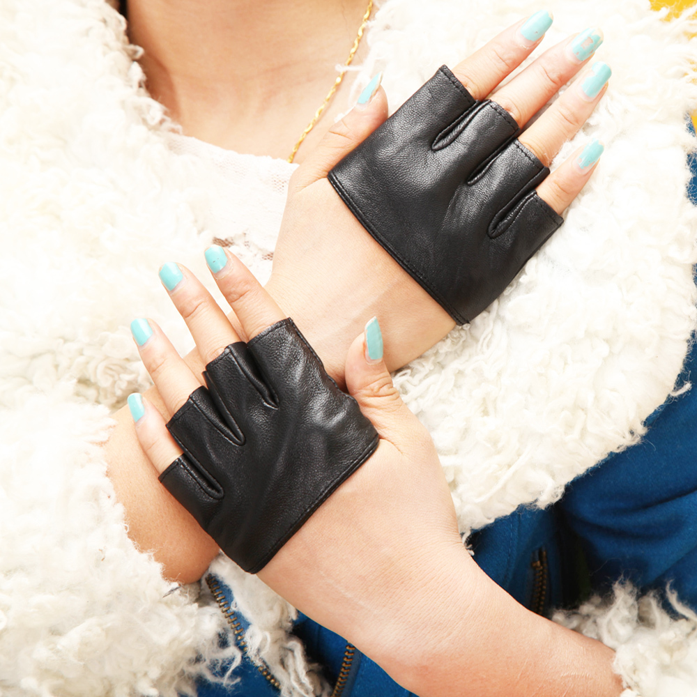 Womens leather gloves teal - 2015 Summer Fall Lady Women Party Festival Fashion Four Fingerless Dancing Genuine Half Palm Leather Hot Mesh Gloves Mittens