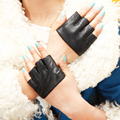2015 summer fall lady women party festival Fashion Four fingerless dancing genuine half palm leather hot  mesh gloves Mittens