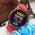 Irisshine i0800 Unisex relojes mujeres hombres parejas regalo del amor Todo Va A Estar BIEN de Oro Banda de Cuero Dial Cuarzo Reloj de Pulsera