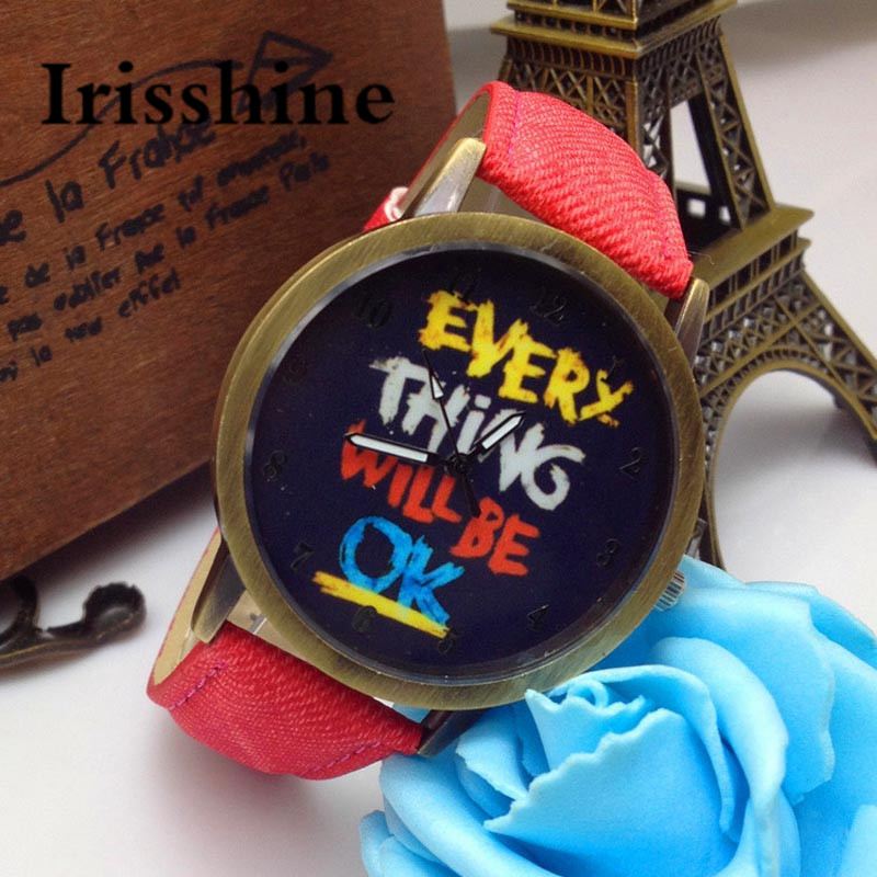 Irisshine i0800 Unisex watches women men couple love gift  Everything Will Be OK Gold Dial Leather Band Quartz Wrist WatchIrisshine i0800 Unisex watches women men couple love gift  Everything Will Be OK Gold Dial Leather Band Quartz Wrist Watch