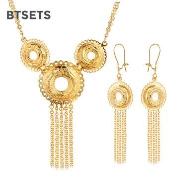 bfe8f00ec0b1 BTSETS nigeriano Dubai conjuntos de joyas para mujeres Color dorado indio  joyería pendientes redondos africanos cuentas conjunto de joyas