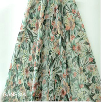 New Green Flower Printed Chiffon Houseleek Pattern Gradient Ramp Georgette Fabric For Lining Sewing Accessories Ss