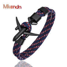 MKENDN New Arrival Airplane Anchor Bracelets Men Charm Rope Chain 550 Paracord Bracelet Male Wrap Metal Sport Hooks Jewelry mkendn 2017 fashion stainless steel anchor bracelet men black braided cowhide leather rope bracelets wrap punk charm jewelry