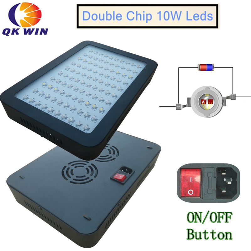 Qkwin New 600W/1000W LED Grow Light 100X10w Full Spectrum with 410-730nm For Indoor plants' grow and Flowering qkwin 600w double chip led grow light 60x10w full spectrum 410 730nm for indoor plants and flower with very high yield