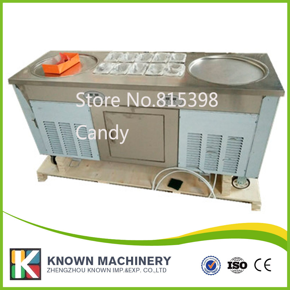 Easy to move safe to operate professional fried ice cream rolled machine with air cooling for sale