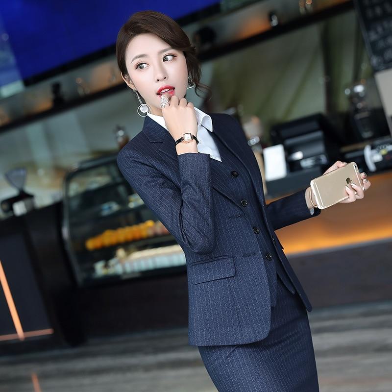 Set female 2018 autumn new temperament striped professional casual women's three-piece suit + vest + trousers elegant fashion