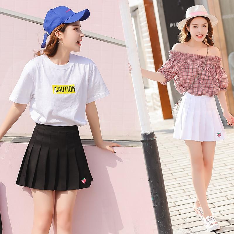 Japanese Preppy School Girl JK Sailor Anime Cos Costumes Strawberry Embroidery Short High Waist Pleated School Uniform Skirt girl