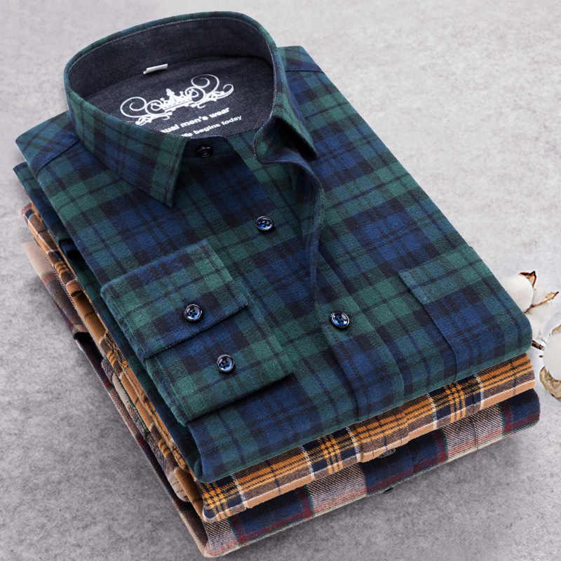 2019 Мужская Повседневная рубашка мужская клетчатая рубашка с длинными рукавами 100% хлопок 5XL осенний мужской фланелевый рубашки camisa masculina